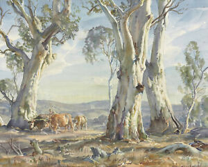 """Hans Heysen  Canvas Print  """"A Drover and Cattle""""  Framed & Ready to Hang"""