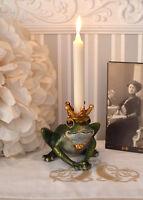 Kerzenhalter Frosch mit Krone Leuchter Kerzenständer Froschkönig Kerzenleuchter