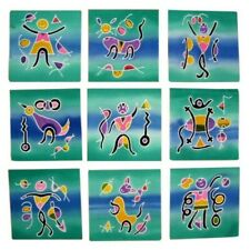 "Authentic Cotton Batik Textile Art Packet Abstract People & Animals 5"" x 5"""