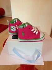 Polo Ralph Lauren Girl's rosa y verde zapatillas zapatos talla 2.5 Reino Unido Nuevo Y En Caja