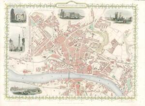 "1851 ORIGINAL ANTIQUE City Map of ""NEWCASTLE ON TYNE""  by Tallis & Rapkin (WV2)"