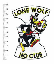 """No Club Lone Wolf 12"""" back patch Motorcycle Biker Hot Rod CC Club Big Bad Wolf"""