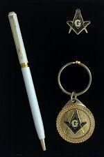 Masonic Lapel Pin, Keychain & Ink Pen Gift Set (White Pen) EES