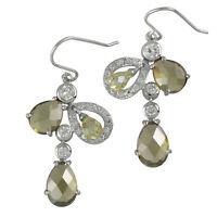 Damen Ohrringe echt Silber 925 Sterling rhodiniert mit Zirkonia grün Ohrstecker