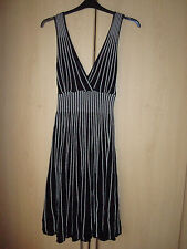 Lipsy dress M/L knitted black  silver glitter stripes sleeveless lined skirt
