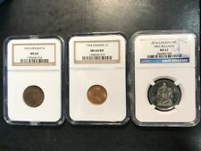 3 Canada NGC 1943 Tombac 5 Cents Nickel MS62 1964 Cent MS64 2014 50 Cents MS67