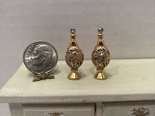 Vintage Cloisonné Pair of Beautiful Jeweled Urns Dollhouse Miniature 1:12