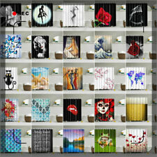 12 Hooks Waterproof Fabric Bathroom Shower Curtain Sheer Panel Decor Many Styles