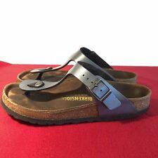 BIRKENSTOCK Gizeh US Sz 6-6.5 Metallic Blue Birko-Flor Slide Thong Sandals EU 37