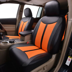 2 Car Seat Covers Leather Mesh Front Universal Orange Black Airbag Compatible