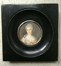 Painting Miniature Portrait Young Girl Period 19th Signé.antique Oil Painted