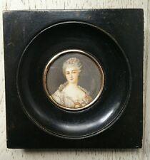 Peinture miniature portrait jeune fille époque XIXème signé.antique oil peint