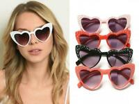 HEART SHAPED MIRROR WOMENS SUNGLASSES CAT EYE PINUP BLACK WHITE CORAL PINK RED