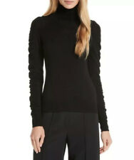 NWT Milly $295 Shirred Sleeve Wool Turtleneck Sweater Black Size Small
