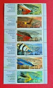 """Canada Stamp #1720a """"Fishing Flies"""" Strip/6 1998"""