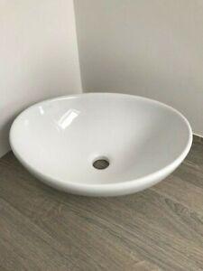 ~~~GREAT SAVING~~~ 👌 Oval Countertop Basin in White Ceramic 40cm x 34cm - Fault