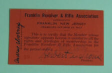 1937 Franklin New Jersey Revolver & Rifle Hunting Club License Membership Card
