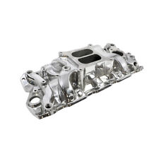 SBC Chevy 350 400 Polished Dual Plane Aluminum Medium Rise Intake Manifold