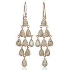 Labradorite Rose Gold Plated 925 Silver Dangle Earrings Gemstone Jewelry