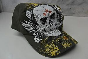 Pugs Gear Woman's Cadet Hat - Dark Green with White Skull and stars