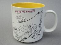Coffee Mug John Lamb Cartoon Birds Waiting to Poop on Washed Car 8oz Papel Vtg