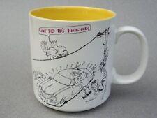 Coffee Mug John Lamb Cartoon Birds Waiting to Poop on Washed Car 8oz Papel Vtg