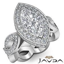 Stunning Marquise Diamond Engagement Unique Ring EGL F VS2 Platinum 950 2.3 ct
