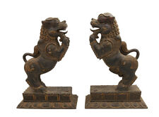 PAIRE ANTIQUE CHIEN DOG FOO LION KOMAINU GARDIEN SANCTUAIRE FU FENG SHUI 6120