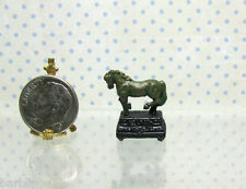 Dollhouse Miniature Bronzed Horse Statue on Footed Base