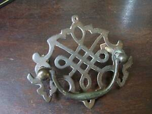 early victorian brass draw handle ( medieval style )