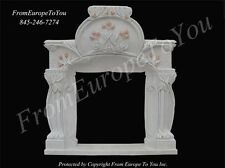GREAT HAND CARVED ART NOUVEAU MARBLE FIREPLACE MANTEL - AN1