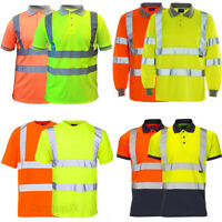 Hi Vis Viz Polo T-Shirt High Visibility Reflective Tape Safety Security Work Top