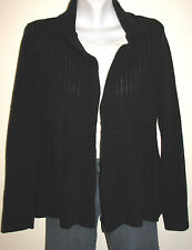Eileen Fisher Black Textured Knit Long Sleeve Open Cotton Cardigan Size Small