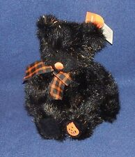 "9"" Russ Berrie Homestyles SPARKY Plush Black Bear w/ Orange Glittery Fur NWT"