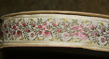 Vintage Embroidered Jacquard Ribbon Trim Yellow Pink Floral France 1 Yard NEW