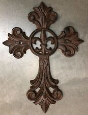 FANCY FLEUR DE LIS CROSS, Antique Brown Finish, for wall mounting or as a trivet