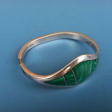 950 Bangle Malachite Bracelet, slf32 Vintage Mexico Taxco Tn-42 Sterling Silver