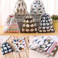 Cotton Linen Drawstring Storage Bag Shoes Laundry Organizer Bag Pouch Portable