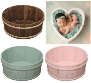 Wooden Basin for Newborn Baby Photography Background Heart Shape Burr free Safe