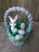 """Vintage Small, 5"""", Blue Ceramic Easter Basket with Eggs and Bunny SUPER CUTE"""