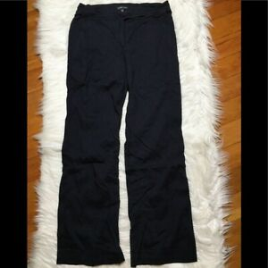 Eileen Fisher Linen Blend Pants Navy Straight Leg 6