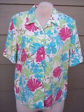Allison Daley Women Camp Shirt Petite Sz 16 16P 47B Floral Crinkle Polyester Top