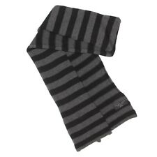 Bloomingdale's 100% Cashmere Black Gray Striped Winter Neck Scarve  / 461
