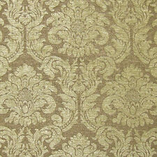 Damask Moss Green Upholstery Chenille Fabric By The Yard