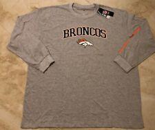 Denver Broncos Long Sleeve T-Shirt 4XL Specialty Double Logos Plus Size Gray NFL