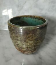 Vintage McCarty Pottery Cup Turquiose and Brown Artist Signed