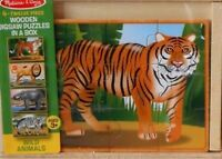 "PUZZLE - JIGSAW MELISSA & DOUG ""WILD ANIMALS"" 4 PUZZLES WITH 12 PIECES EACH NIP!"
