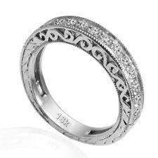 18k Solid White Gold Diamond Wedding Band sizes 3.50 to 9.5 .28ct