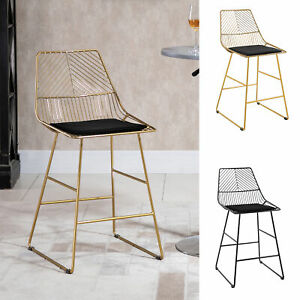 Modern Counter Height Bar Stools Set of 2 pcs Wire Metal Barstools for Kitchen