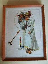 Norman Rockwell Vintage Retro Wood Framed Wicket Thoughts 1931 Picture